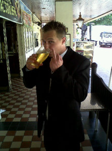 Me in pub after getting 150 hours unpaid work in court for assulting police officer not good.